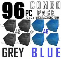 The BIG DEAL ComBo 96 pack GREY & BLUE  Acoustic Wedge Sound Studio Foam 12x12x1