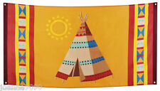 Large Native American Indian Teepee Cowboy Flag Banner Birthday Party Decoration