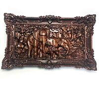 Wood Carving Elephants Wall Art Decoration 3D Carved Wooden Home Decor Gift