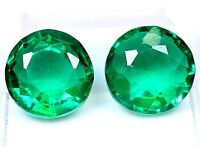 2 Piece Ceylon's Natural Green Sapphire 12-18 Ct Round Shape Certified Loose Gem