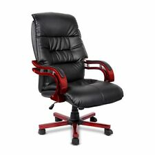 Wooden Office Chair PU Leather High Back Cushion Support 360 Swivel Seat 150kg