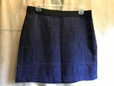 Banana Republic Skirt NWT Size 8 Black Royal Blue Textured Lined A-Line $79.50