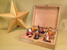 "Miniature Small Christmas Tree Ornaments And 8.5"" Hand Made Wood Tree Topper"