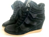 "Sam Edelman Hidden Wedge 6"" Black Leather Canvas Boots Women 8.5 New Lace Up Hot"