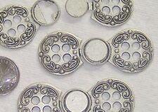 ORNATE fancy Set 3 New Vintage Antiqued Silver Metal CLASPS Buttons LARGE