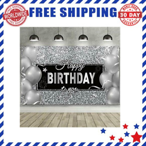 Happy Birthday Backdrop Banner with Black White Balloons Silver - With Rope