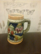 VINTAGE MINIATURE BEER TANKARD 9.5CM HIGH X 5CM DIAMETER MARKED FOREIGN ON BASE
