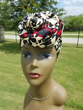 Cream, black and red african print headwrap