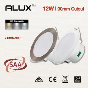 12W LED Downlight Kit CCT Dimmable White/Satin chrome Flush 90mm Cutout IC-4