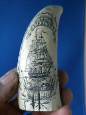 "Scrimshaw Sperm Whale Resin Reproduction Tooth "" Mercury"""
