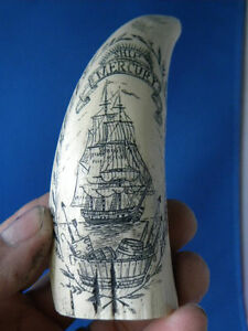 """SCRIMSHAW SPERM WHALE RESIN REPRODUCTION TOOTH  """" MERCURY"""""""