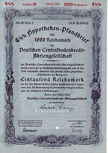 uralte Aktie Deutsche Centralbodenkredit-Aktiengesellschaft/Berlin/1940/1000Mark