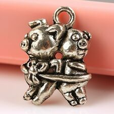 F1072*15 Tibetan Silver Baby Pigs Animal Charm Pendant Spacer Bead For Necklace