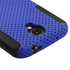 For Samsung Galaxy S4 MESH Hybrid Silicone Rubber Skin Case Phone Cover Blue