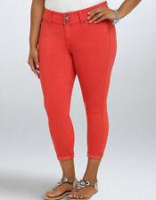 New Torrid Size 26 26W Cropped Denim Jeggings Jegging Blood Orange Tomato Red