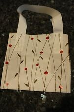 NEW 25 white plastic gift bags w brown and red design