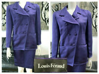 LOUIS FERAUD PURPLE DOUBLE BREASTED SILK WOOL RIBBED TEXTURED SKIRT SUIT 8 🌸