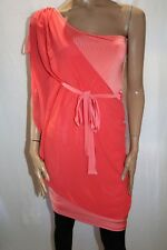 BLOCKOUT Brand Coral One Shoulder Chiffon Dress Size L BNWT #TA20
