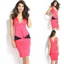 Sz S 8 10 Pink Black V-neck Peplum Ruffle Sleeveless Dance Party Cocktail Dress