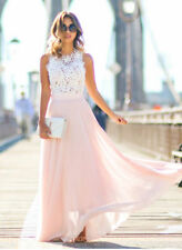 Long Chiffon Lace Evening Formal Party Ball Gown Prom Bridesmaid Maxi Dress 8-18