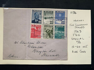 Norway 1943 FDC The London Stamps Special Handstamp (10-60 Ore) (1134)