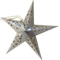 HANGING LARGE CHRISTMAS SILVER STAR DECORATION