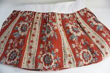 """Vintage Ralph Lauren Cassie Red Blue Floral Barkcloth Queen Bedskirt, 13"""" Drop"""