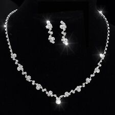 Diamante Necklace Earrings Set Ladies Crystal Bridal Jewelry Jewellery Diamonte