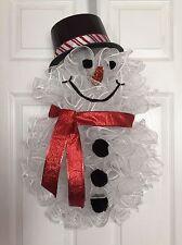 "25"" x 17"" Handmade Winter/Christmas Deco Mesh Snowman Wreath - Red"