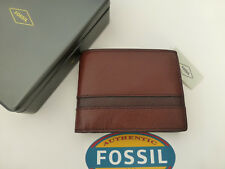 FOSSIL Tri-fold Wallet EASTON Int Traveler Brown Multi Leather Coin Wallets BNIB