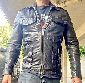 Mens Black Leather Chevignon Sheepskin  Aviator Jacket Motorcycle S