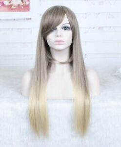 Fashion Brown Blonde Ombre Wig Long Natural straight Hair wig +a wig cap