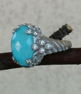 Judith Ripka Flora Oval Turquoise Doublet & Diamonique Ring 8.75 Silver 13 grs