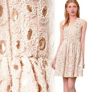 Anthropologie Copper Swirls Dress Petite 12 P Large $248 Fit & Flare Sequins NWT