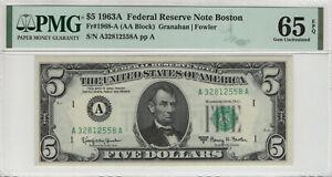 1963 A $5 FEDERAL RESERVE NOTE BOSTON FR.1968-A AA BLOCK PMG GEM UNC 65 EPQ