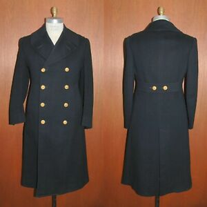 WWII 1942 US NAVY Officers Bridge Coat 36-38 Fit  Gold Button Long Trench