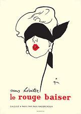 LE ROUGE BAISER FINE PRINT - ART DECO STYLE OF RENE GRUAU 1920`S BLINDFOLD GIRL