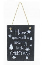 ' HAVE YOURSELF A MERRY LITTLE CHRISTMAS' Slate Sign Plaque XMAS Hanging Decor