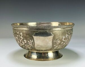 Large Antique Chinese Export Silver Footed Bowl