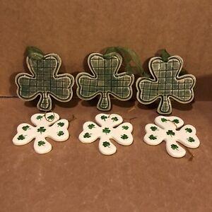 Vtg Ceramic Shamrock Ornaments Set Of 6 St Patricks Day