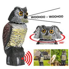Scare Owl & Rotating Head Realistic Possum Rodent Bird Pest Deterrent Statue 🌟