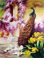 """Paint By Number Kit Peacock Palace Dove Home Wall Art DIY Canvas Painting 16x20"""""""