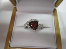 GORGEOUS ESTATE14 KT GOLD 2.55 CTW VIVID RED SPESSARTITE AND DIAMOND RING  !!!!!
