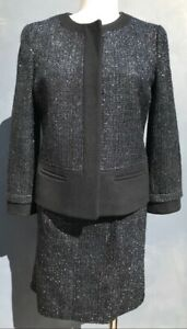 ANN TAYLOR WOMEN'S BLUISH/BLACK METALLIC SHINNY TWEED SKIRT SUIT SIZE 8