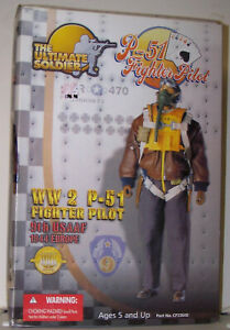 """The Ultimate Soldier 2001 WW2 P-51 Fighter Pilot 21st Century Toys 1/6 Scale 12"""""""