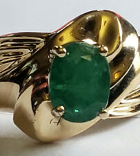 10k Yellow Gold Natural Green Emerald 8x6mm Swirl Band Design Size 6 Ring 4.1Grm