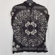 Ladies MAJESTIC FILATURES Top Black Floral French Paris Linen Silk Blend Size S