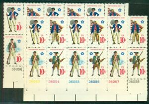 US #1565-8, 10¢ Military Uniforms, Strong Yellow Color Shift Error on pane of 12