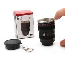 Keychain Camera Lens Cup Coffee Tea Mug Stainless Steel Thermos & Lens Lid LJ