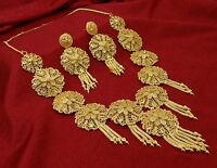 2 PC Traditional Indian Goldplated Necklace Earring Set Designer Bridal Jewelry